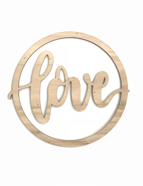letrero en madera natural love redondo estilo nórdico para decorar pared o cualquier rincón de la casa