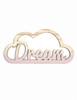 Adorno decoración pared nube en madera con nombre personalizado