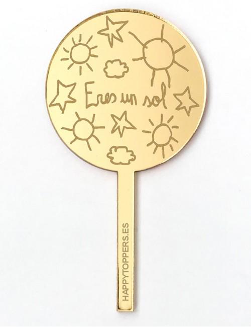 cake-topper-mini-eres-un-sol-decoracion-fiestas-oro-espejo-varias-formas