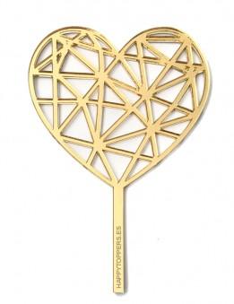mini topper corazón geométrico en dorado, también disponible en plata.