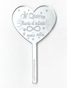 cake-topper-mini-te quiero hasta-el-infinito-decoracion-fiestas-plata-espejo-varias-formas-también-oro-enamorados