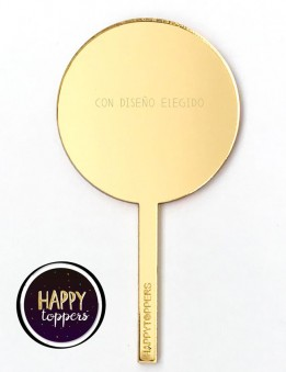 cake topper circulo dorado efecto espejo frase superación para decorar tartas enamorados taller propio Madrid