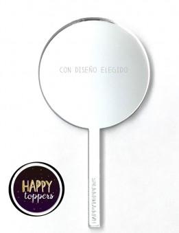cake topper circulo plateado efecto espejo frase superación para decorar tartas enamorados taller propio Madrid