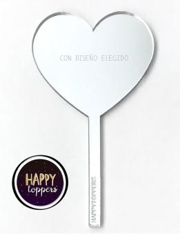 cake topper corazón plateado efecto espejo frase superación para decorar tartas enamorados taller propio Madrid