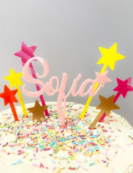 Cake Toppers Estrellas De Colores Para Decorar Tartas Y Postres Para - Adornos-tarta