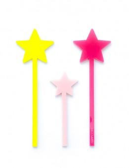 Toppers y adornos para decorar tartas en acrilico personalizado tres estrellas de colores