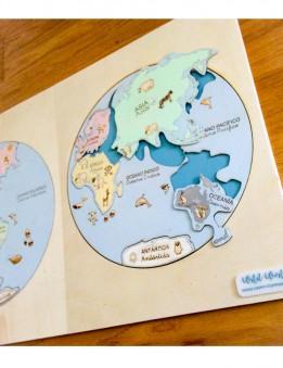 aprender los continentes con el puzzle mapa mundi montessori en madera pintado a mano