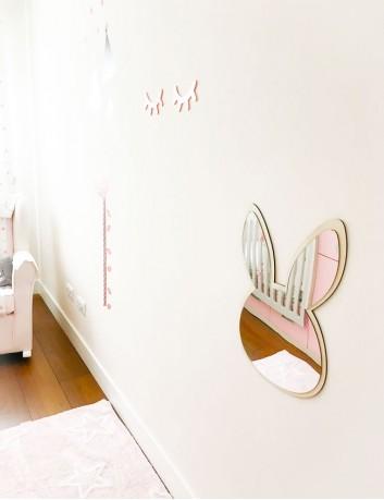 espejo decorativo niños en forma de conejo con madera natural