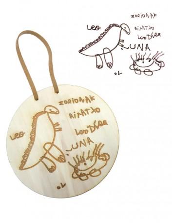 regalo para papa, graba el dibujo de tu hijo sobre madera para regalar. Idea de regalo original para el padre