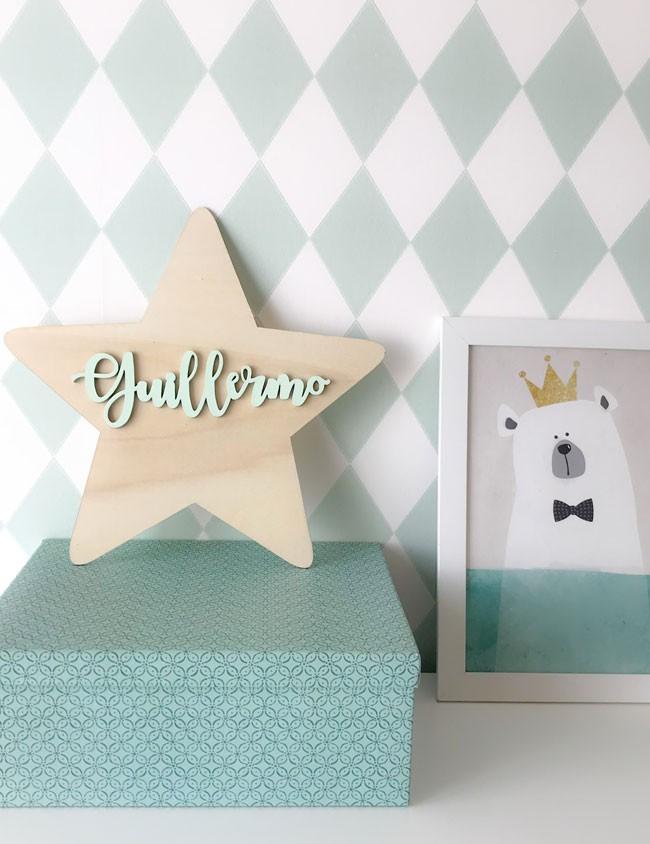 estrella en madera con nombre del niño, decora la habitación del peque estilo nórdico para niños
