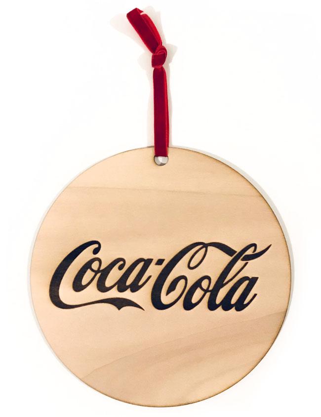 bola madera adorno navidad con marca publicitaria