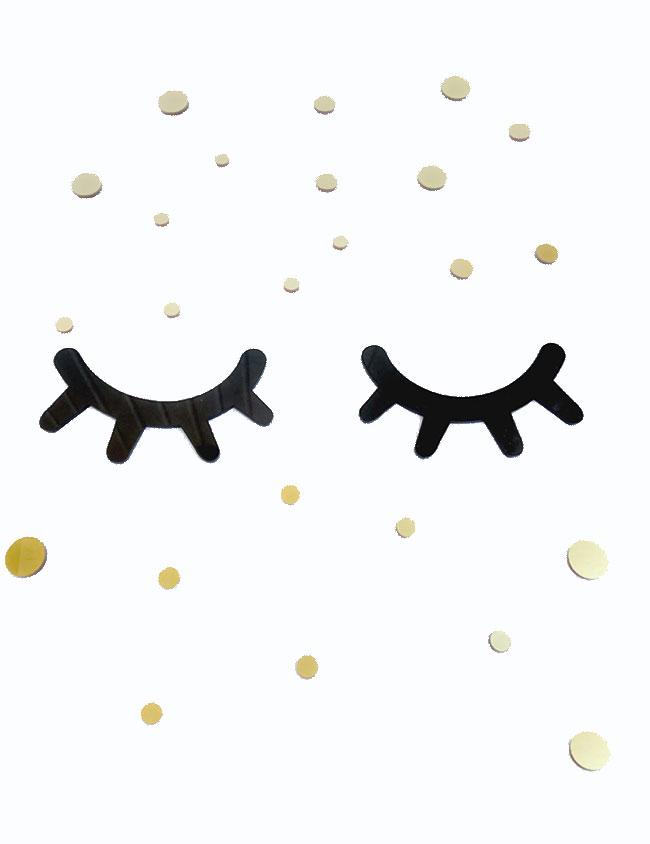 decoración pared para habitación niños. pestañas dormilonas, ojos dormilones colores